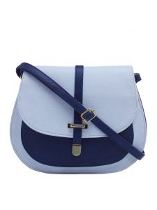 Esbeda White & Dark Blue Solid Pu Synthetic Fabric Slingbag For Women(code-2376)