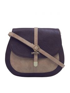 Esbeda Dark Brown & Beige Solid Pu Synthetic Fabric Slingbag For Women(code-2377)