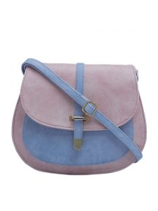 Esbeda Light Pink & Light Blue Solid Pu Synthetic Fabric Slingbag For Women(code-2378)