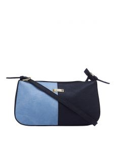 Esbeda Light Blue & Black Solid Pu Synthetic Fabric Handbag For Women(code-2387)