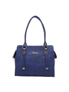 Esbeda Dark Blue Color Solid Pu Synthetic Fabric Handbag For Women(code-2392)