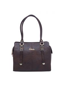 Esbeda Dark Brown Color Solid Pu Synthetic Fabric Handbag For Women(code-2396)
