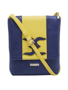 Esbeda D-blue-yellow Color Solid Pu Synthetic Material Slingbag For Womens(code-2397)