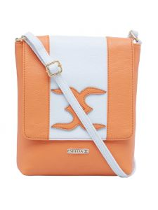Esbeda Orange-white Color Solid Pu Synthetic Material Slingbag For Womens(code-2399)