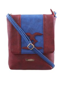 Esbeda Maroon-s-blue Color Solid Pu Synthetic Material Slingbag For Womens(code-2403)