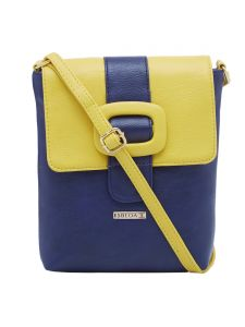 Esbeda D-blue-yellow Color Solid Pu Synthetic Material Slingbag For Womens(code-2405)