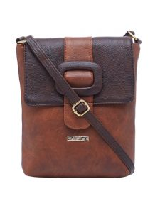 Esbeda Tan-d-brown Color Solid Pu Synthetic Material Slingbag For Womens(code-2408)