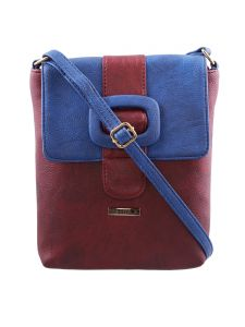 Esbeda Maroon-s-blue Color Solid Pu Synthetic Material Slingbag For Womens(code-2409)