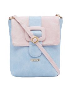 Esbeda L-blue-l-pink Color Solid Pu Synthetic Material Slingbag For Womens(code-2410)