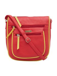 Esbeda Red-yellow Color Solid Pu Synthetic Material Slingbag For Womens(code-2412)