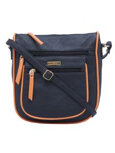 Esbeda Black-orange Color Solid Pu Synthetic Material Slingbag For Womens(code-2414)