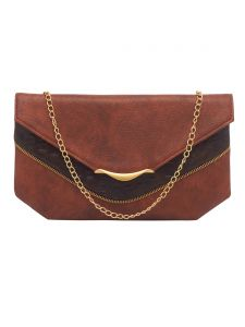 Esbeda Tan Color Solid Pu Synthetic Fabric Clutch For Women(code-2422)