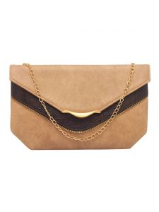 Esbeda Beige Color Solid Pu Synthetic Fabric Clutch For Women(code-2424)
