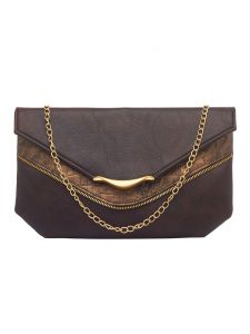 Esbeda Dark Brown Color Solid Pu Synthetic Fabric Clutch For Women(code-2425)