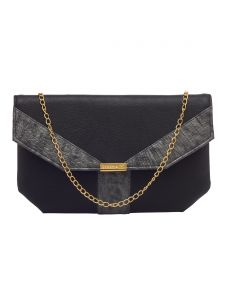 Esbeda Black Color Solid Pu Synthetic Fabric Clutch For Women(code-2434)