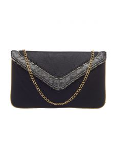 Esbeda Black Color Solid Pu Synthetic Fabric Clutch For Women(code-2438)