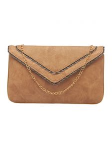 Esbeda Beige Color Solid Pu Synthetic Fabric Clutch For Women(code-2440)