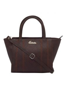 Esbeda Dark Brown Color Embroidered Pu Synthetic Fabric Handbag For Women(code-2442)