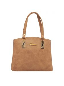 Esbeda Beige Color Solid Pu Synthetic Fabric Handbag For Women(code-2450)