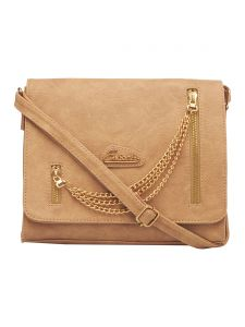 Esbeda Beige Color Solid Pu Synthetic Fabric Slingbag For Women(code-2454)