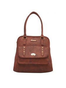 Esbeda Tan Color Solid Pu Synthetic Fabric Handbag For Women(code-2459)