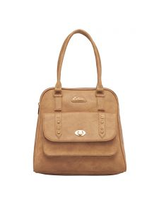 Esbeda Beige Color Solid Pu Synthetic Fabric Handbag For Women(code-2460)