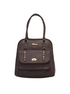 Esbeda Dark Brown Color Solid Pu Synthetic Fabric Handbag For Women(code-2461)