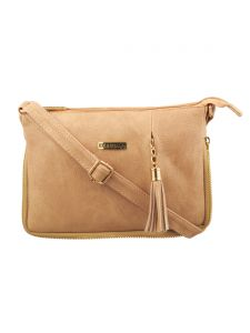 Esbeda Beige Solid Pu Synthetic Fabric Slingbag For Women