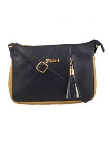 Esbeda Black Solid Pu Synthetic Fabric Slingbag For Women