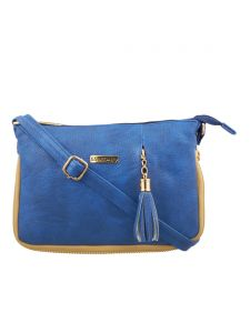 Esbeda Medium Blue Solid Pu Synthetic Fabric Slingbag For Women
