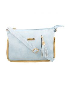 Esbeda Light Blue Solid Pu Synthetic Fabric Slingbag For Women