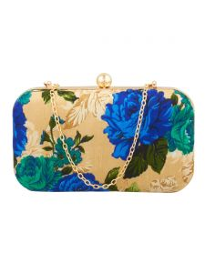 Esbeda Gold-blue Floral Print Pu Synthetic Fabric Clutch For Women