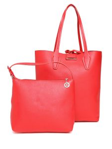 Esbeda Red Solid Pu Synthetic Totebag With Pouch For Womens( Code-2481)