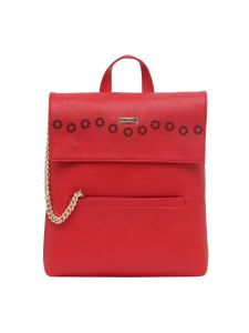 Esbeda Red Solid Pu Synthetic Fabric Bagpack For Women