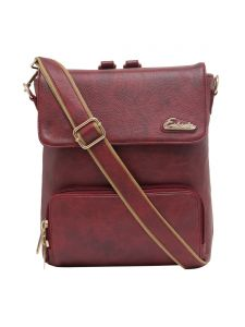 Esbeda Maroon Solid Pu Synthetic Fabric Bagpack For Women