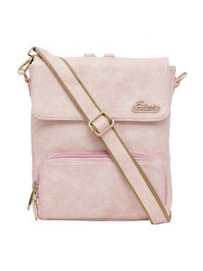 Esbeda Light Pink Solid Pu Synthetic Fabric Bagpack For Womens(code-2541)