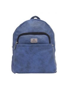 Esbeda Medium Blue Solid Pu Synthetic Fabric Bagpack For Womens(code-2552)