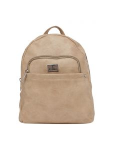 Esbeda Beige Solid Pu Synthetic Fabric Bagpack For Womens(code-2553)