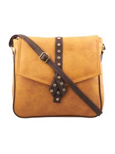 ESBEDA Light Tan-Dark Brown Solid Pu Synthetic Fabric Slingbag For Womens(Code-2558)