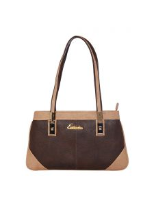 Esbeda Brown & Beige Solid Pu Synthetic Handbag For Women(code-2677)