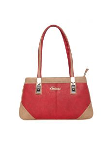 Esbeda Red & Beige Solid Pu Synthetic Handbag For Women(code-2678)
