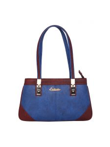 Esbeda Medium Blue & Maroon Solid Pu Synthetic Handbag For Women(code-2681)