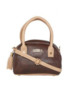 Esbeda Brown & Beige Solid Pu Synthetic Slingbag For Women(code-2719)