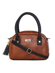 Esbeda Tan & Black Solid Pu Synthetic Sling Bag For Women (code-2720)