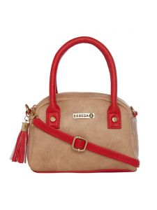 Esbeda Beige & Red Solid Pu Synthetic Slingbag For Women (code-2724)