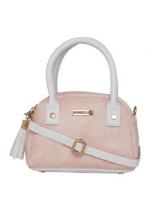 Esbeda Light Pink & White Solid Pu Synthetic Slingbag For Women (code-2725)