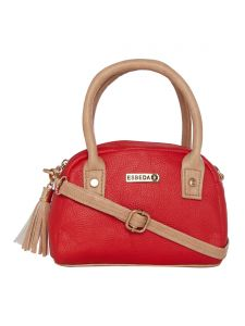 Esbeda Red & Beige Solid Pu Synthetic Slingbag For Women (code-2726)