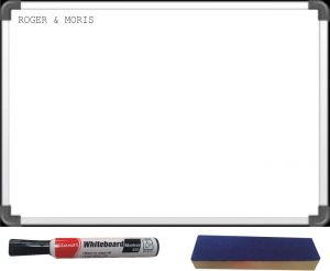 Office Products - Roger & Moris White Board (Large) with Black Luxor Marker & Wooden Duster