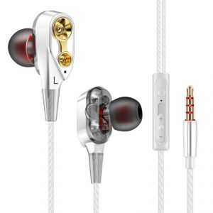 Tablet Accessories (Misc) - R6 Dual Driver Earphone | Super Bass Reflex Headphone with Mic | Amazing Quad Core Dual Speaker for HD Music
