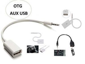 Tablet Accessories - 3.5MM MALE AUX AUDIO PLUG JACK TO USB 2.0 FEMALE CONVERTER CABLE CORD CAR MP3-WHITE.